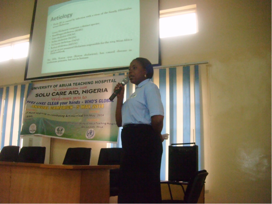 Figure 2 Presenter at Seminar for WHO 5th May event: 'Clean Hands Save Lives in May 2015' at a tertiary center in Nigeria