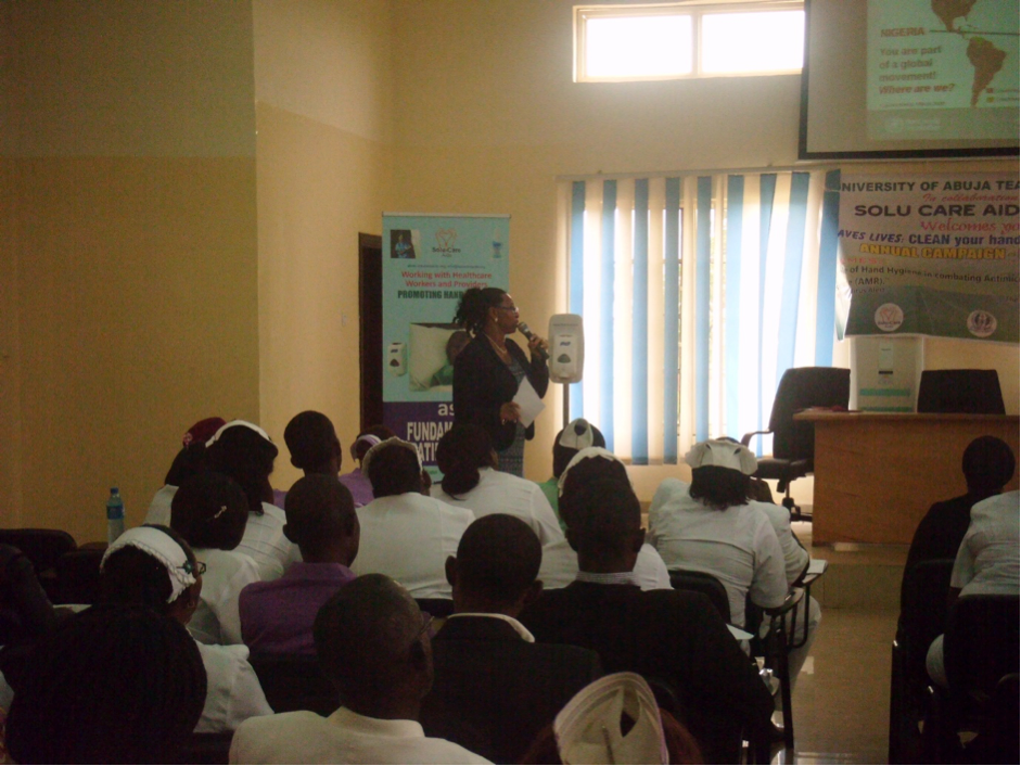 Figure 3 Presenter and Cross Section of Delegates at WHO 5th May 2014 Seminar in a tertiary center in Nigeria supporting: Save Lives Clean Your Hands'
