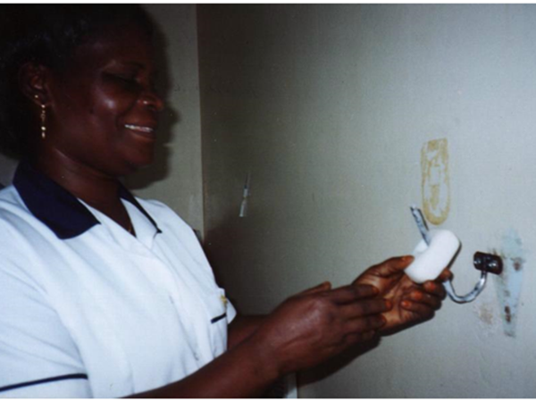 Mary Tiah, nursing supervisor, who was instrumental in the development of this soap solution.